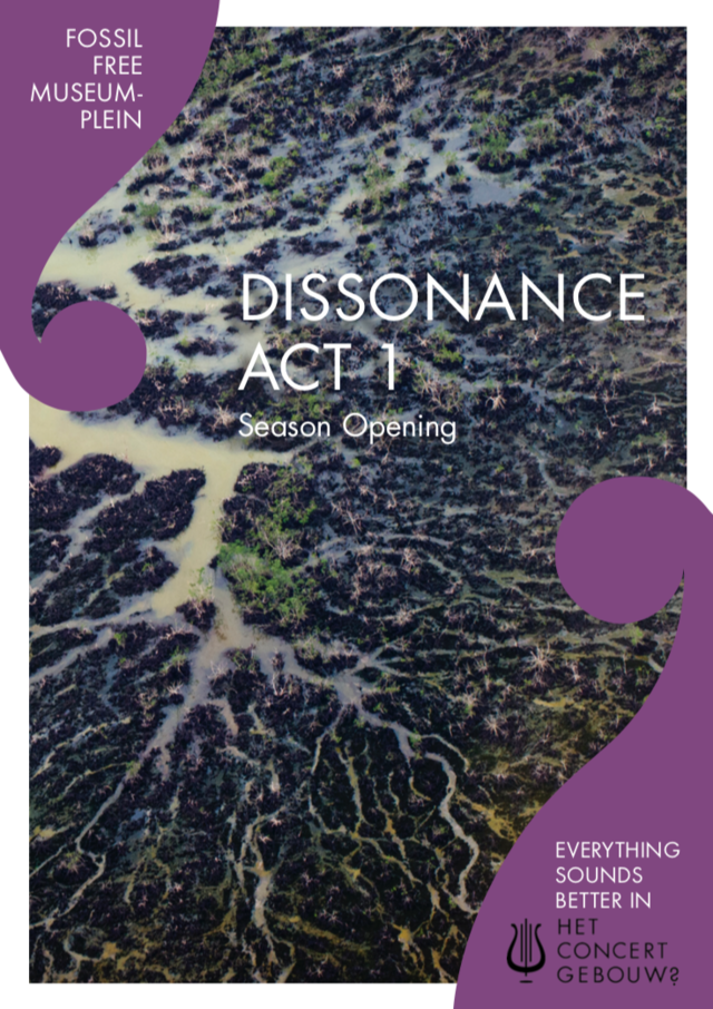 "Flyer front of the Niger Delta with the text ""Dissonance Act 1"""